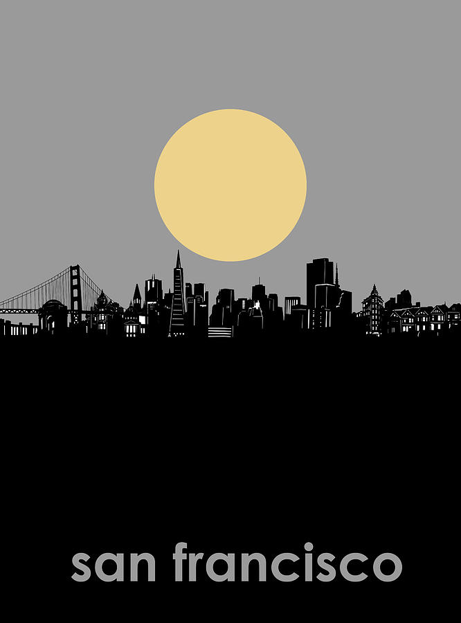 San Francisco Digital Art - San Francisco Skyline Minimalism by Bekim M