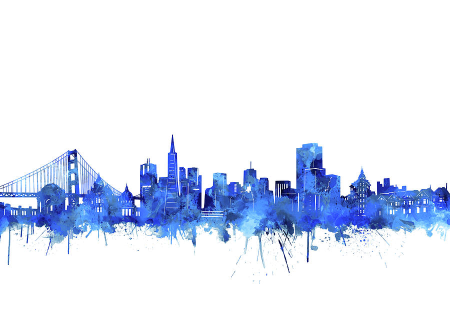 San Francisco Digital Art - San Francisco Skyline Watercolor Blue by Bekim M