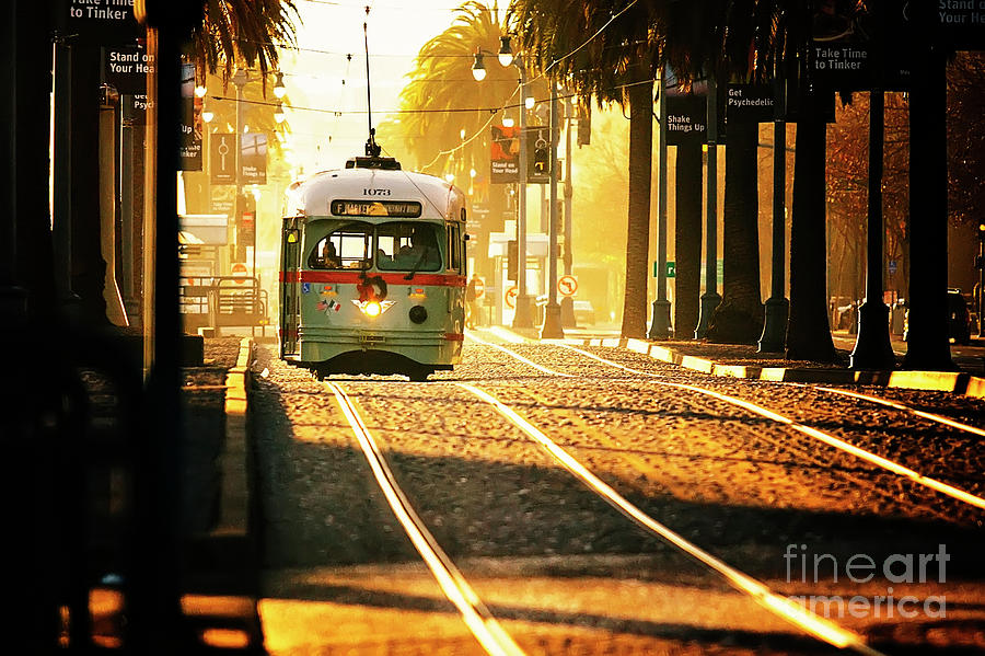 San Francisco Trolley In Morning Light Photograph