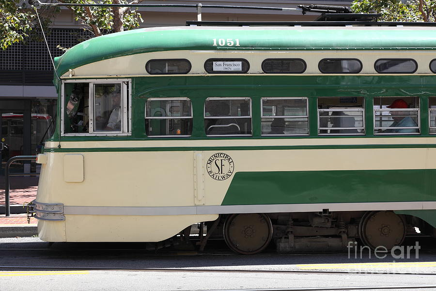 San Francisco Photograph - San Francisco Vintage Streetcar On Market Street - 5d17973 by Wingsdomain Art and Photography