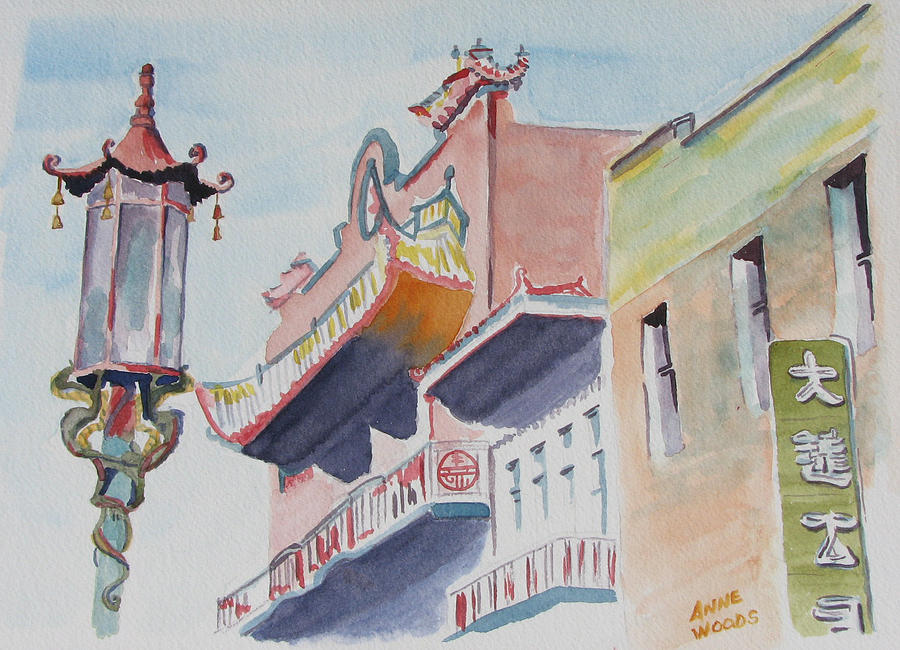 San Franciscos Chinatown Painting by Anne Woods