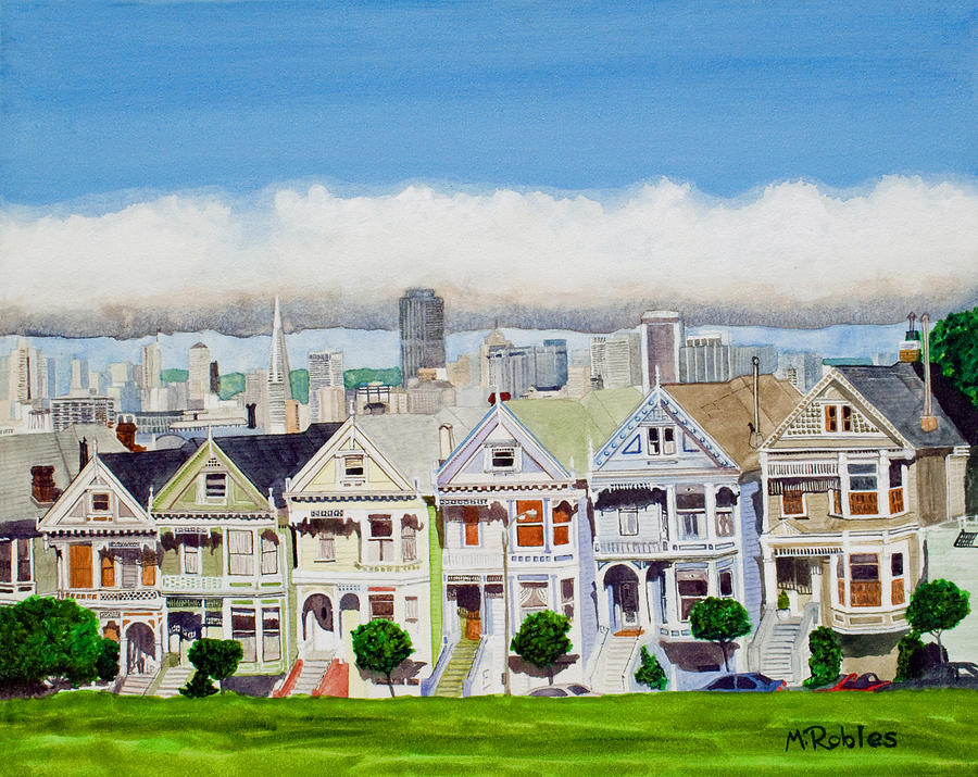 San Francisco Painting - San Franciscos Painted Ladies by Mike Robles
