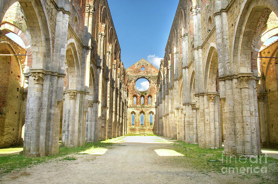 Abandoned Photograph - San Galgano Roofless Church Tuscany Region by Luca Lorenzelli