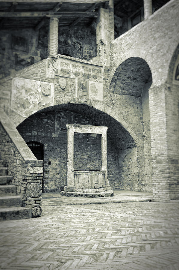 Ancient Photograph - San Gimignano - Medieval Well  by Silvia Ganora