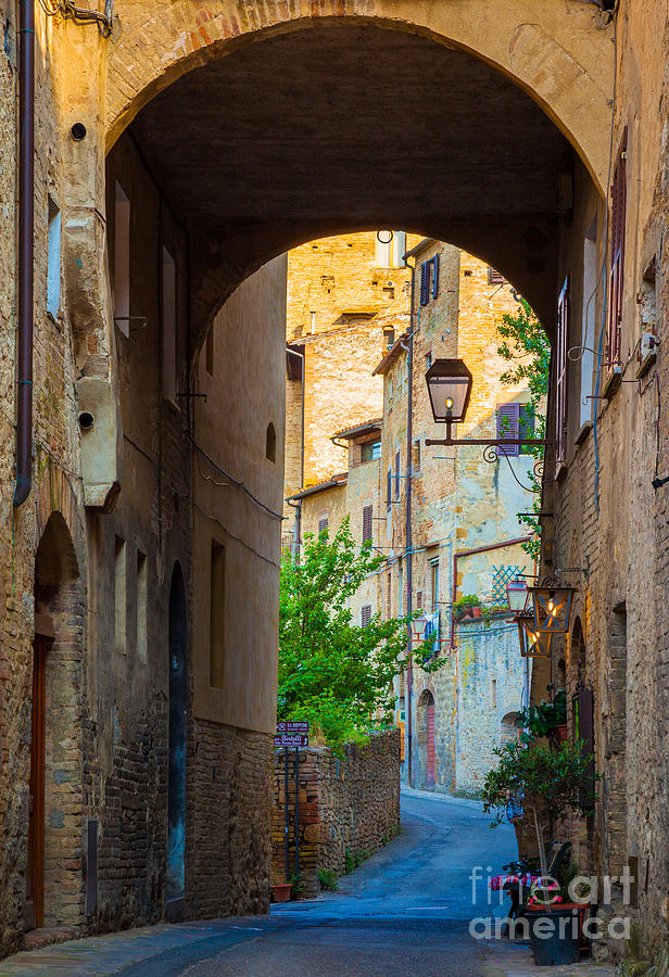 Europe Photograph - San Gimignano Archway by Inge Johnsson