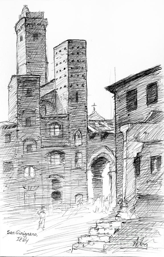 San Gimignano towers in Italy pen and ink drawing by Adam Long