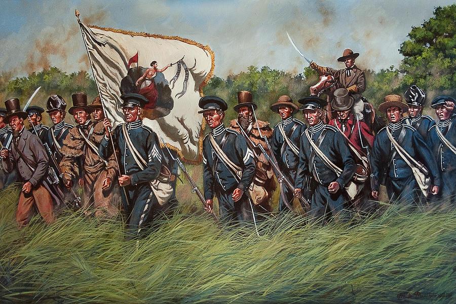 San Jacinto - Shermans Kentucky Rifles Regiment At The Battle Of San Jacinto, Texas Painting