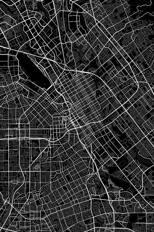 Road Map Digital Art San Jose California Usa Dark Map By Jurq Studio