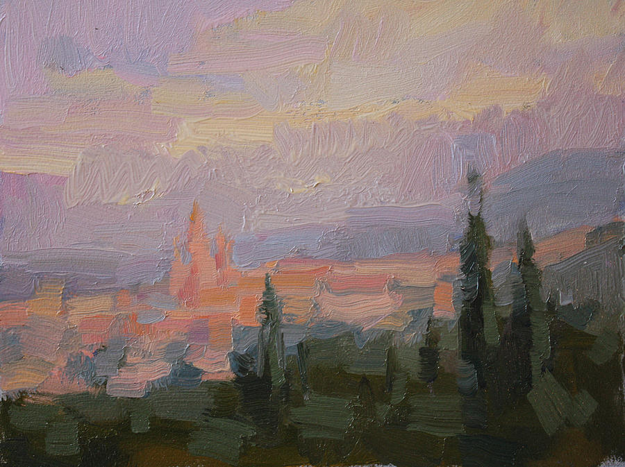 Oil Painting Painting - San Miguel Cathedral Sunrise by Kathryn Townsend