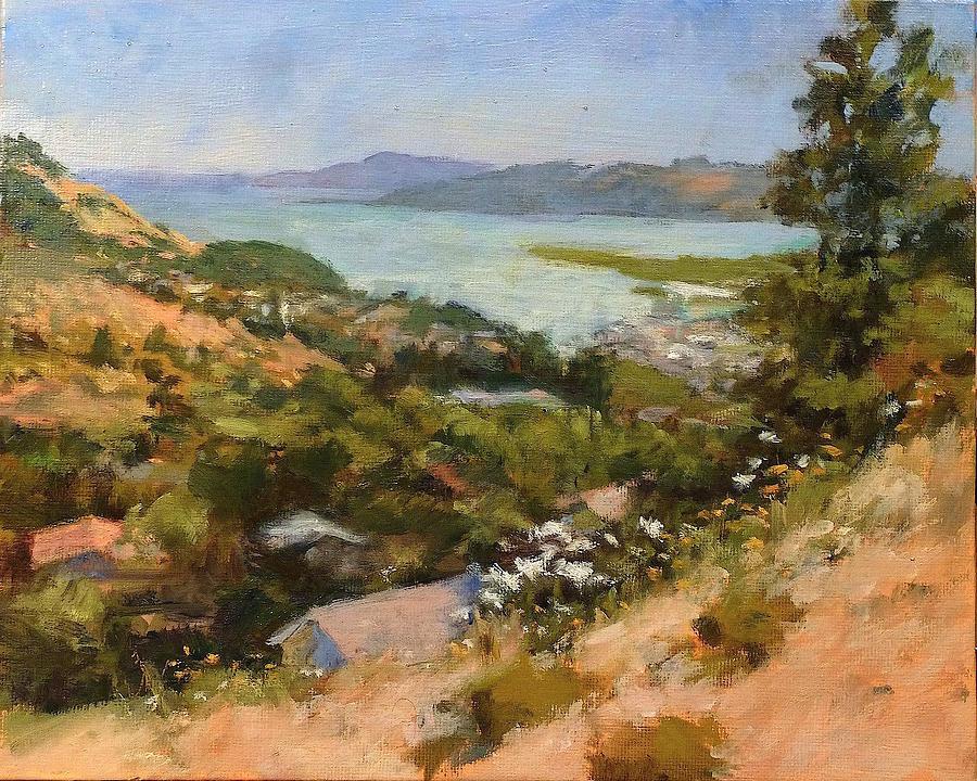 California Painting - San Rafael Bay From Via La Cumbre, Greenbrae, Ca by Peter Salwen