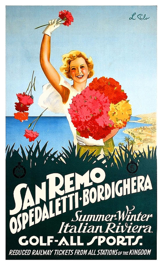 San Remo Painting - San Remo, Italian Riviera, Girl With Flowers by Long Shot