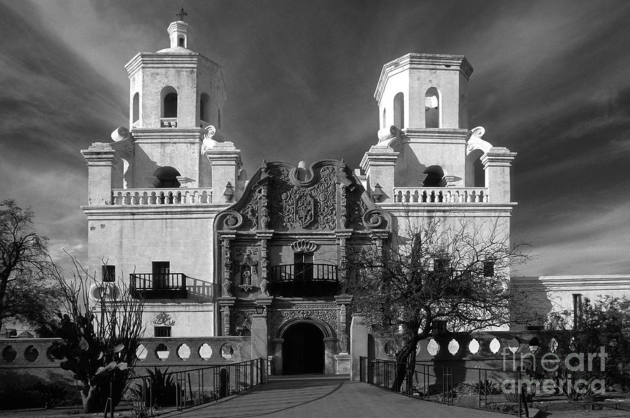 B&w Photograph - San Xavier Del Bac Mission by Sandra Bronstein