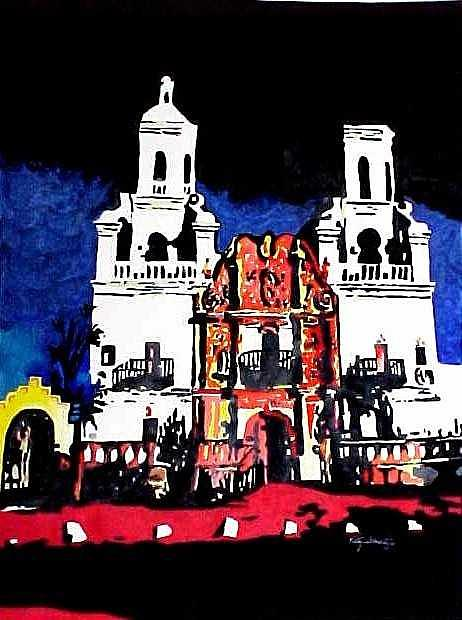Southwest Mission Painting - San Xavier Mission by Kitty Schwartz