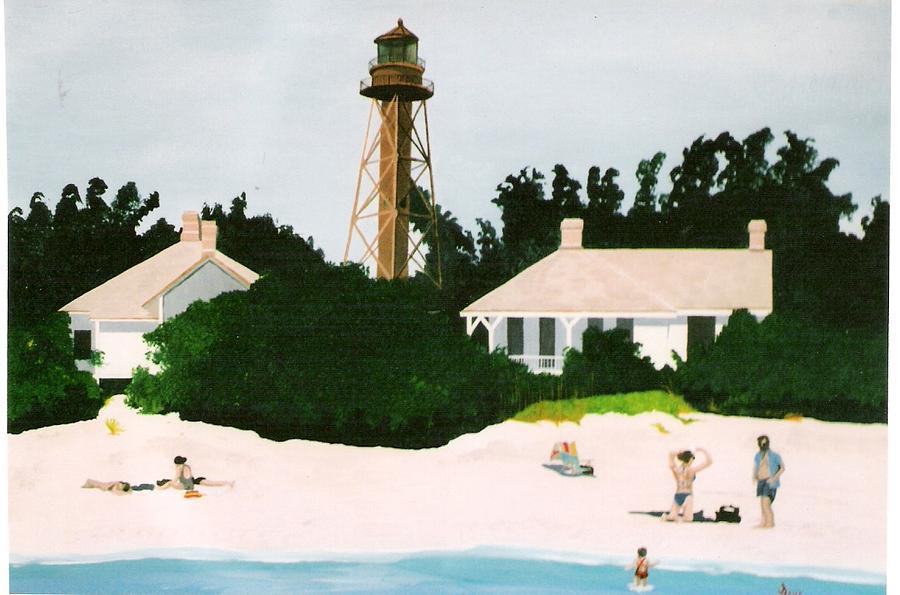Nautical Painting - Sanabel Island Lighthouse by David Ellis
