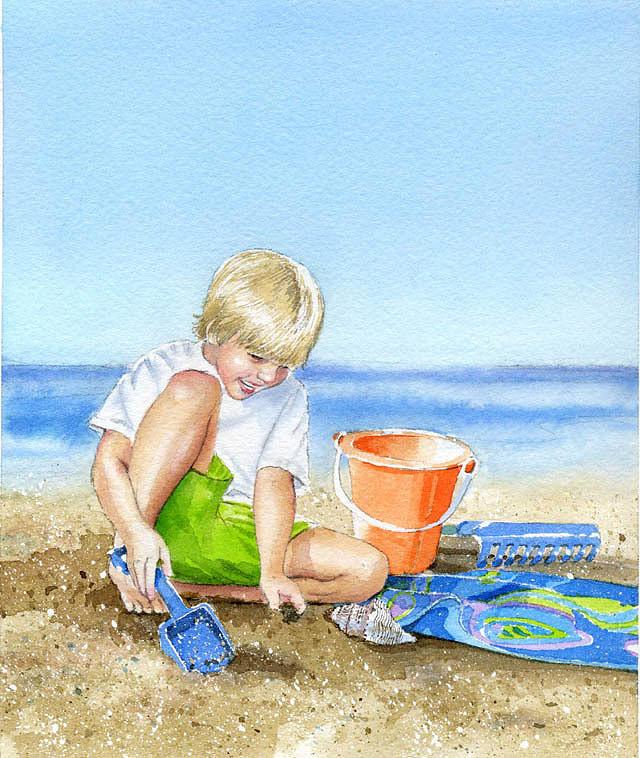 Boy Painting - Sand Castle by Denny Bond