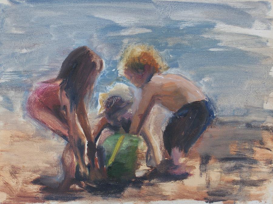 Children Painting - Sand Castles by Denise Lockhart Bush