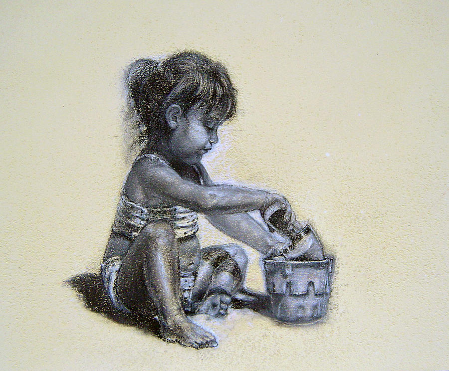 Long Island Drawing - Sand Castles by James Berger