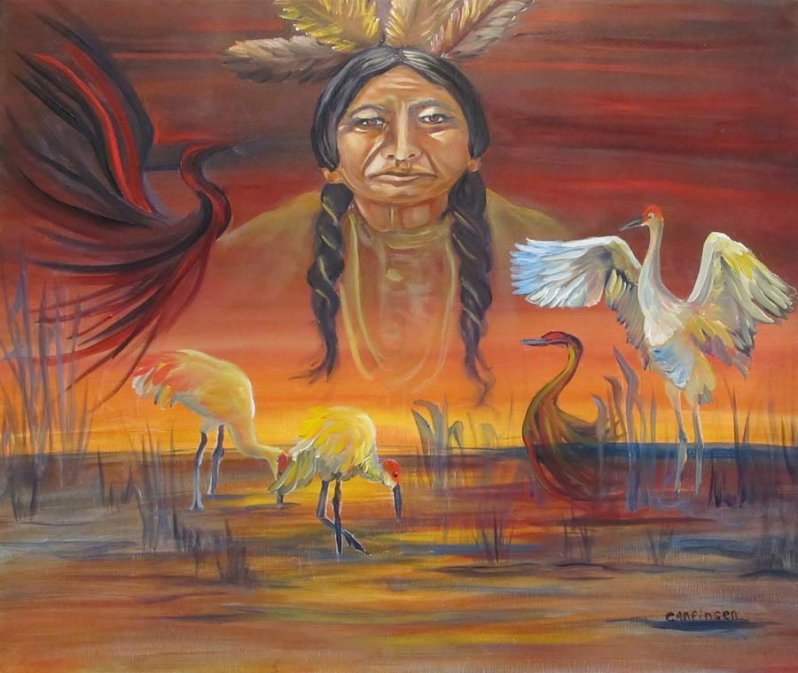 Native American Painting - Sand Crane Dreams by Carol Allen Anfinsen