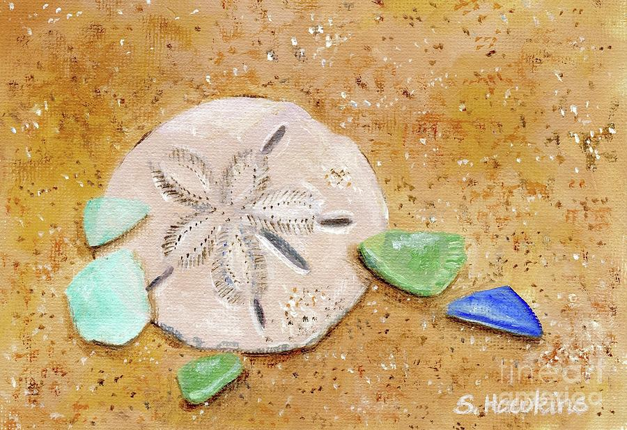Oil Painting Painting - Sand Dollar And Beach Glass by Sheryl Heatherly Hawkins