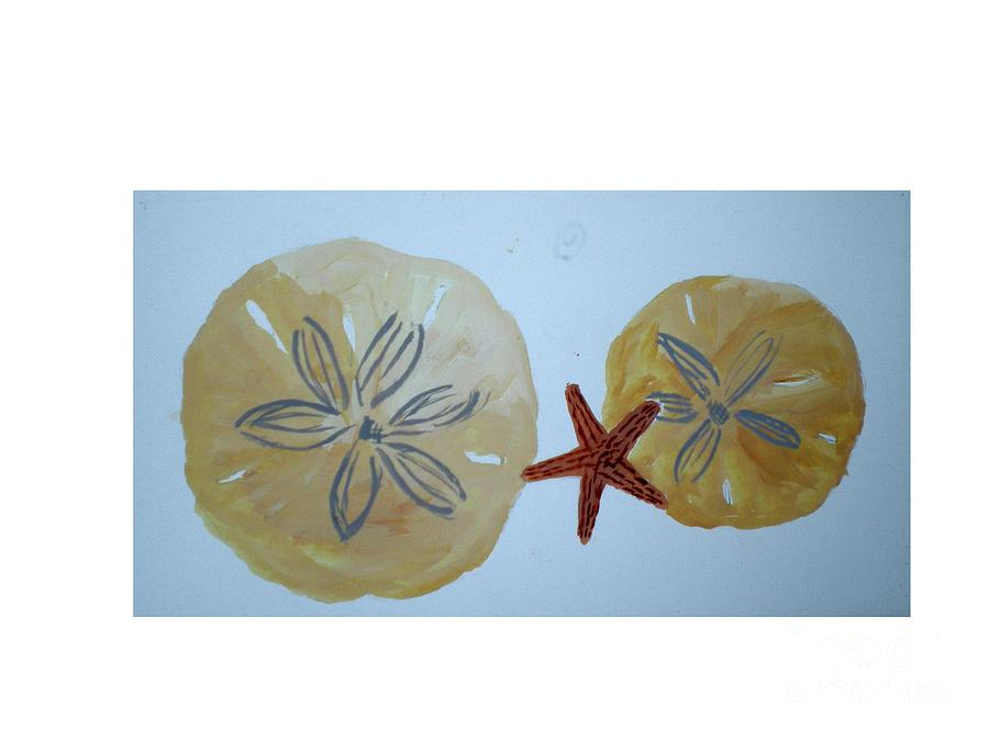 Star Fish Painting - Sand Dollars With Star Fish by Hal Newhouser