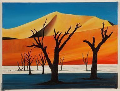 Sand Dunes In Namibia Painting by Joseph Greenawalt