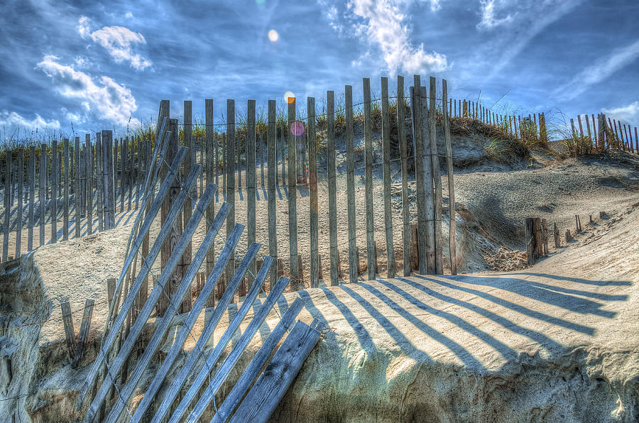 Obx Photograph - Sand Fence by Greg Reed
