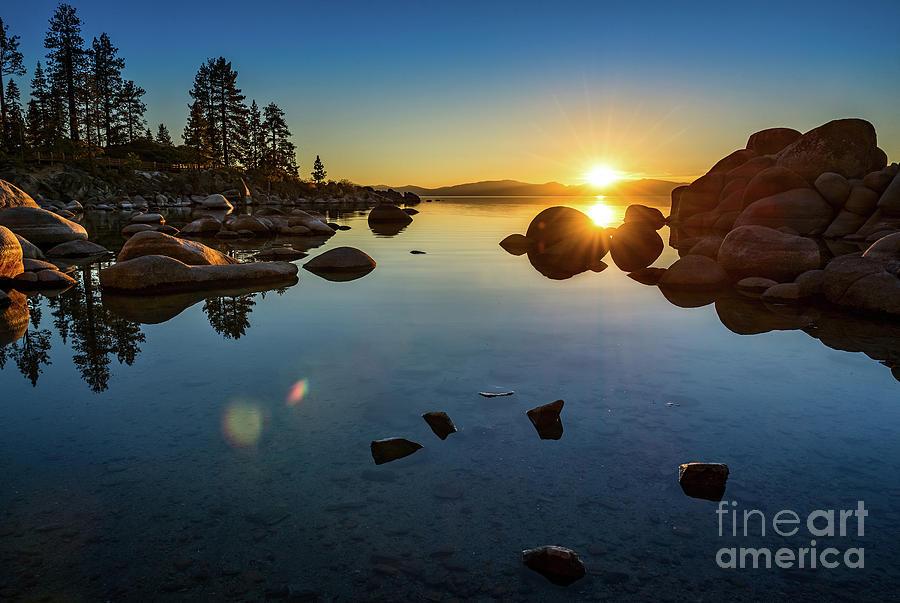 Sand Harbor Photograph - Sand Harbor Sunset by Jamie Pham