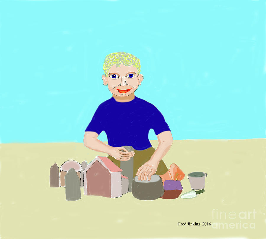 Happy Boy Painting - Sand Sculptor by Fred Jinkins