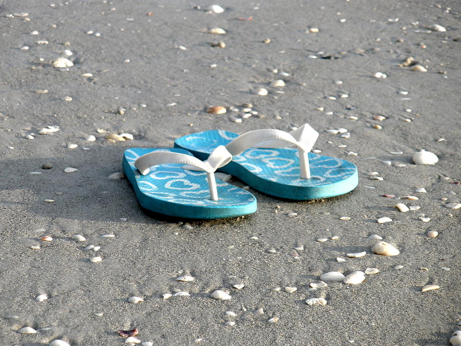 Beach Photograph - Sandals By The Seashore by Richard Mansfield