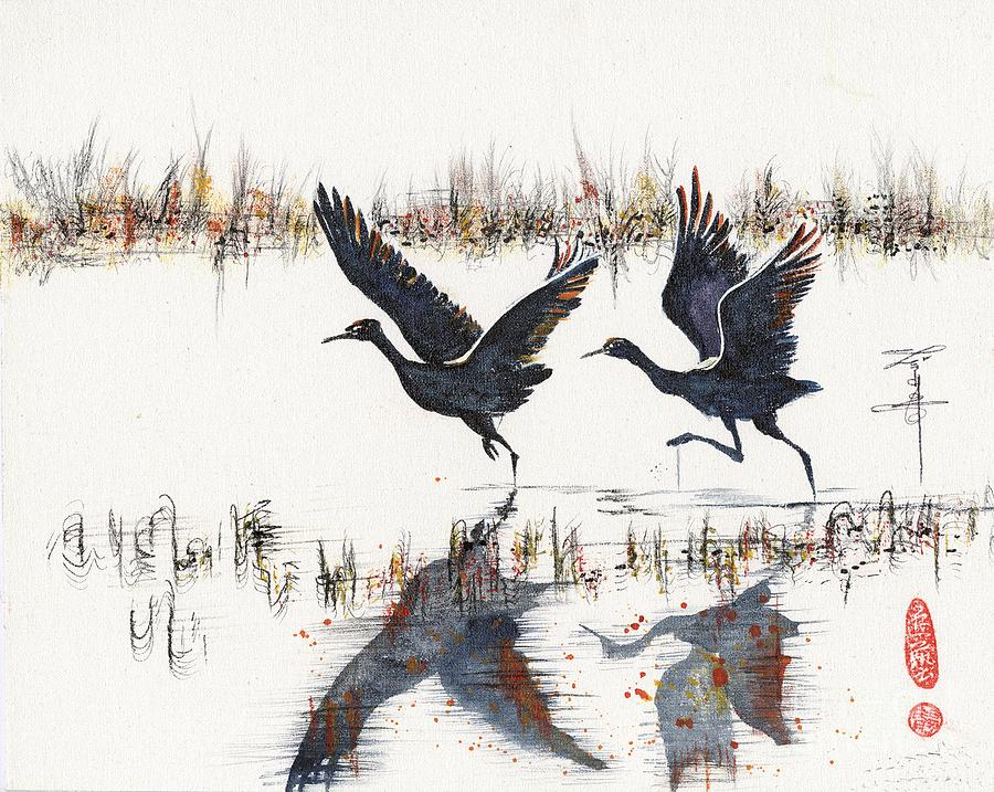 Waterbirds Painting - Sandcranes Taking Off At Sunset by Linda Smith