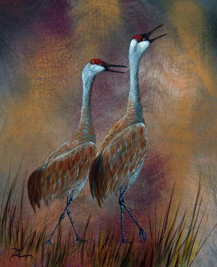 Sandhill Crane Painting - Sandhill Crane Duet by Dee Carpenter