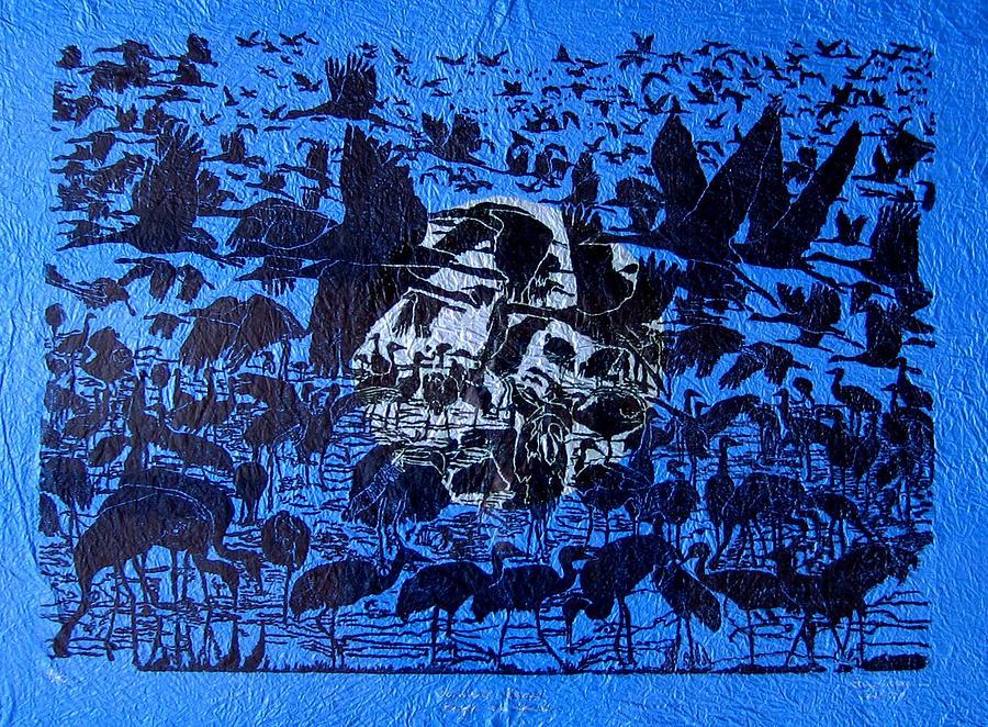 Wildlife Painting - Sandhill Cranes by Harriet Greene