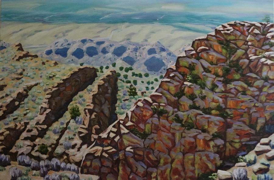 Oil Painting - Looking Down From The Sandia Mountains by Allen Kerns