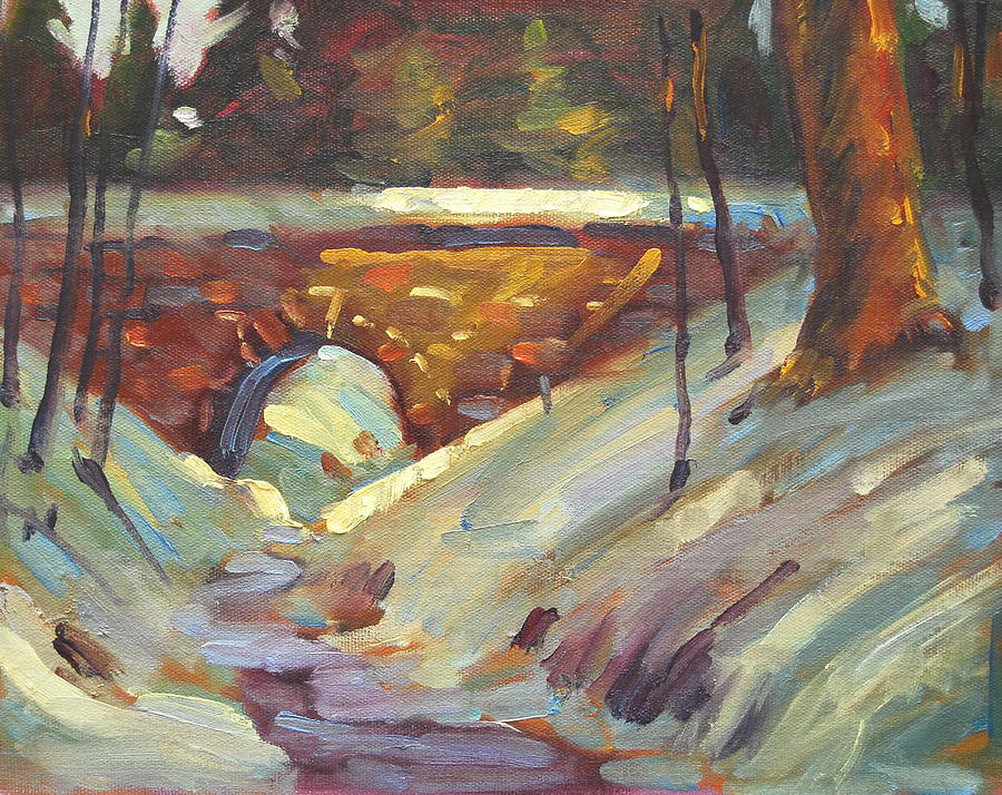 Stone Bridge Painting - Sandmill Road Bridge by Len Stomski