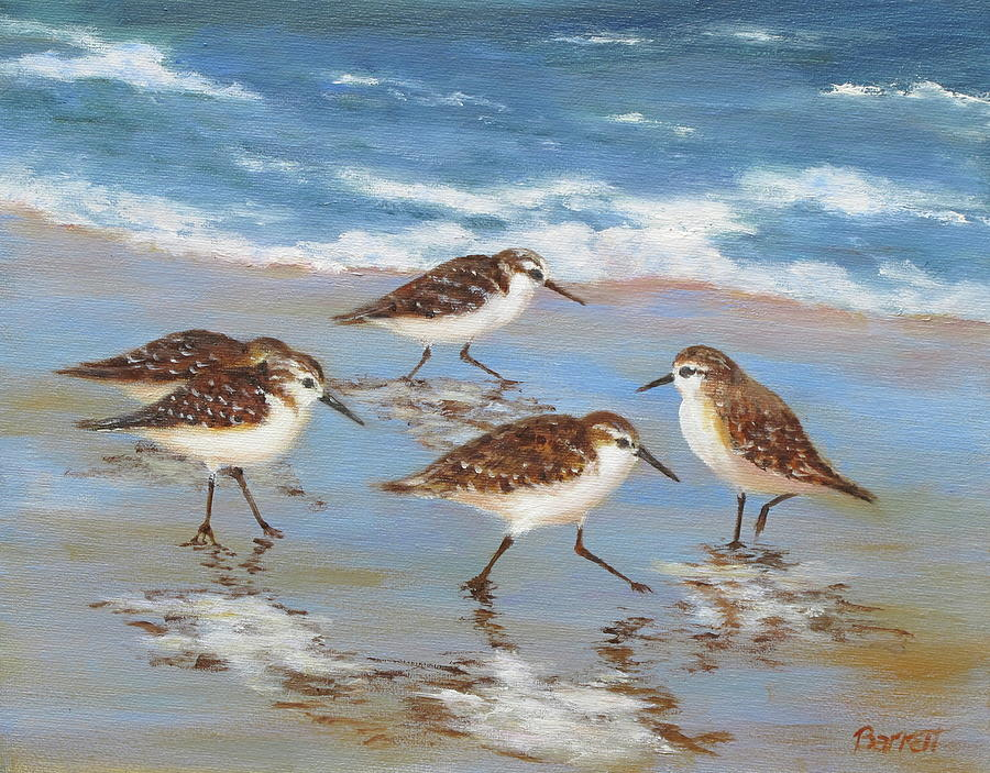 Sandpipers Painting by Barrett Edwards
