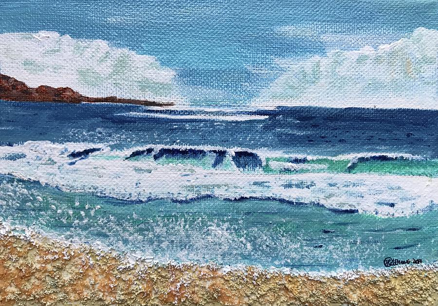 sandy beach painting by heike althaus