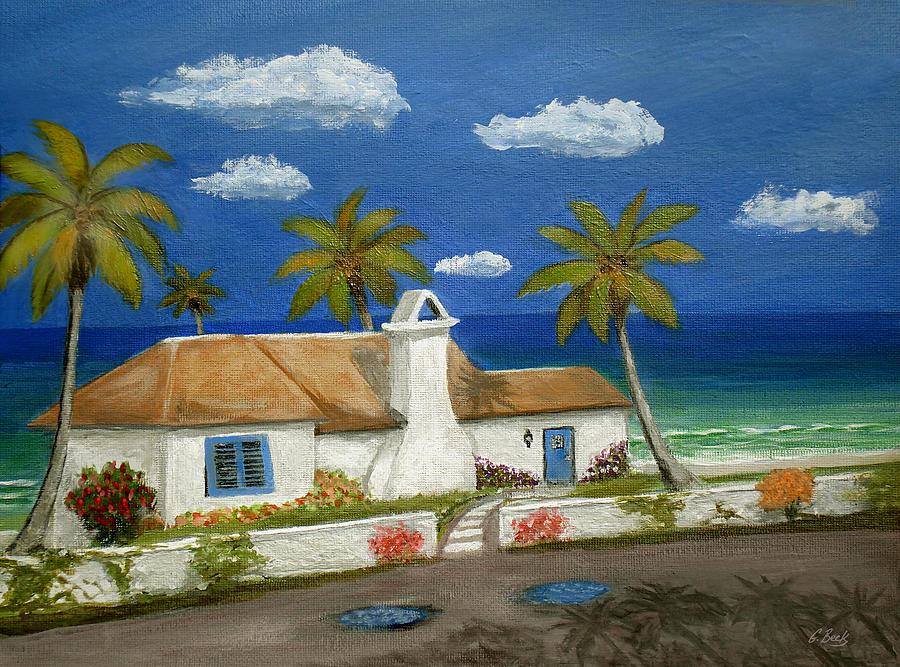 Tropical Beach Cottage Florida Home Seascape Coastal Ocean Palm Trees Caribbean Gordon Beck Art Painting - Sandy Point by Gordon Beck