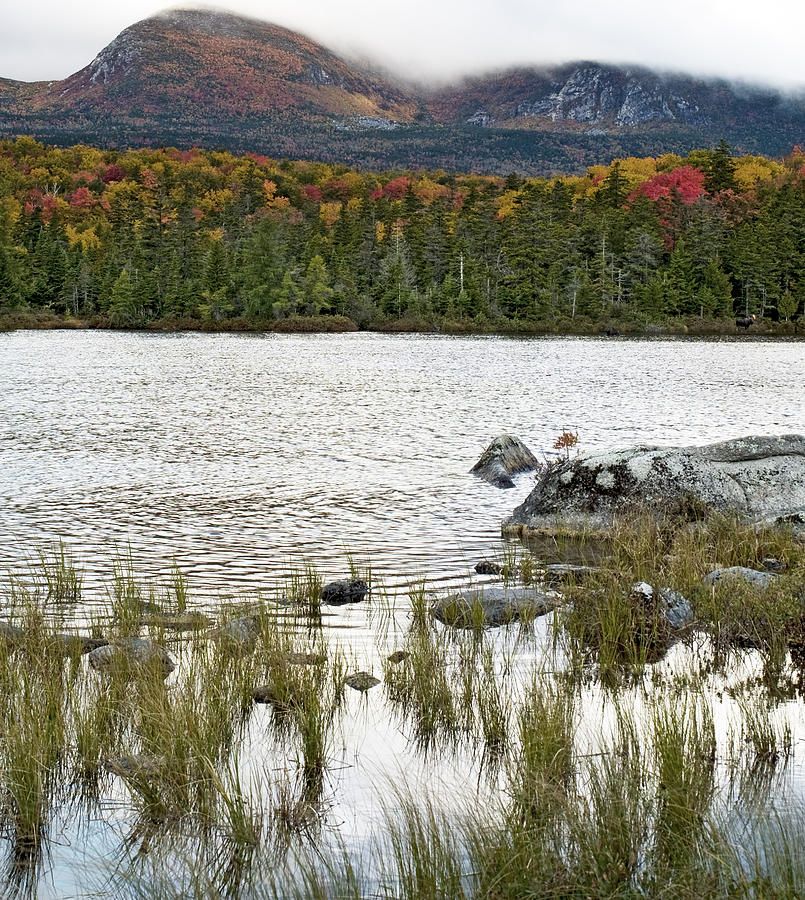 Maine Photograph - Sandy Stream Pond View Of Baxter Peak In Baxter State Park Maine by Brendan Reals