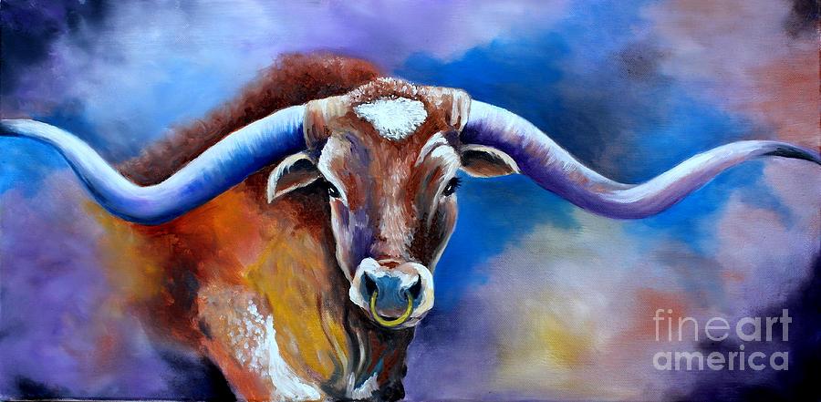 Longhorn Painting - Sandys Longhorn Bull by Pechez Sepehri
