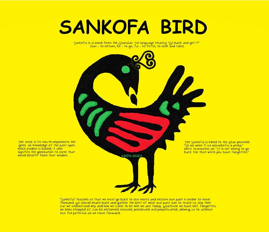 Akan Digital Art - Sankofa Bird Of Knowledge by Adenike AmenRa