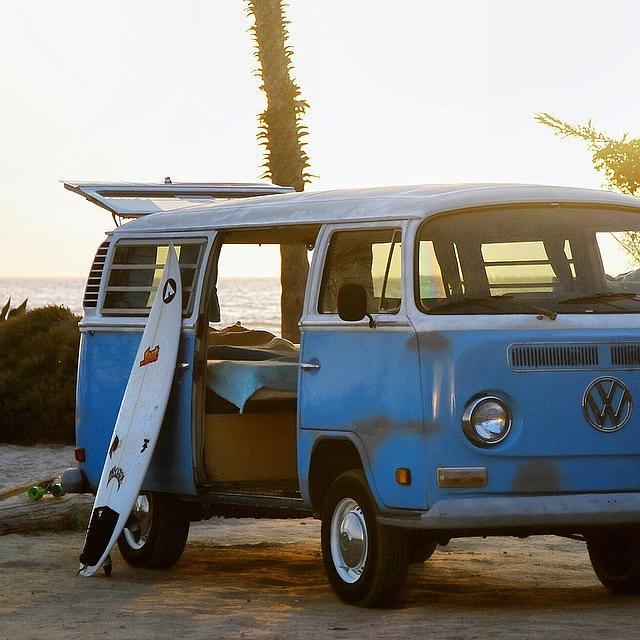 Volkswagen Photograph - VW and Surfboard by Hal Bowles