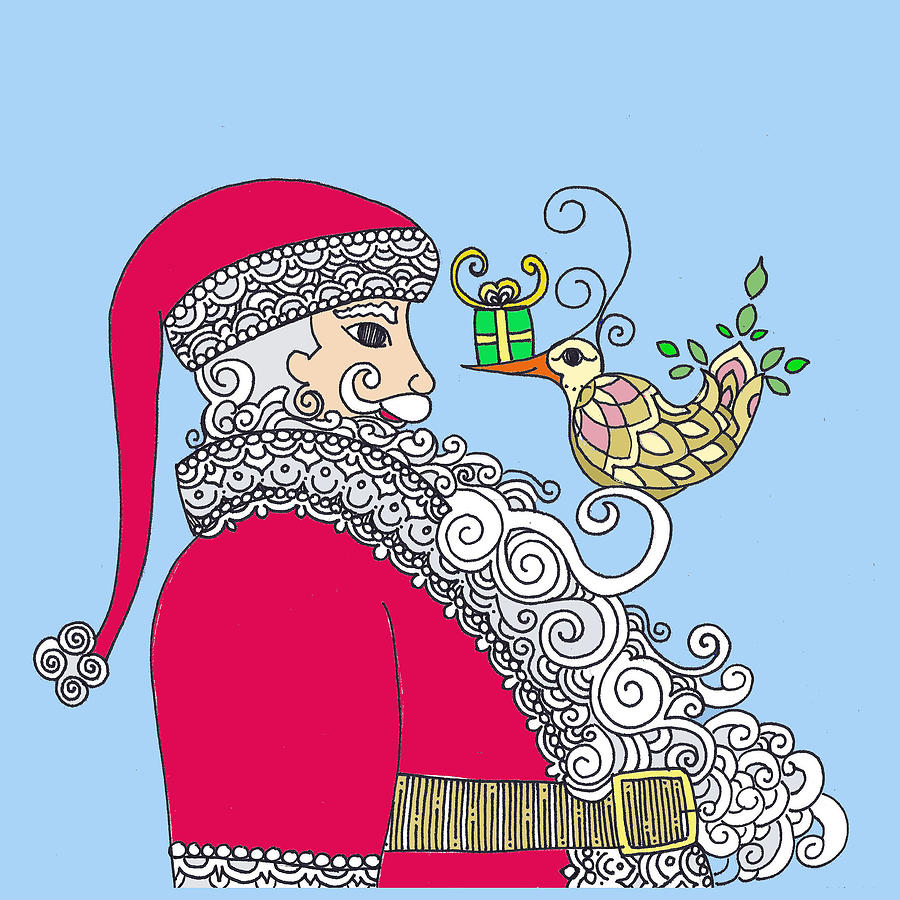 Caroline Drawing - Santa and Bird on blue by Caroline Sainis