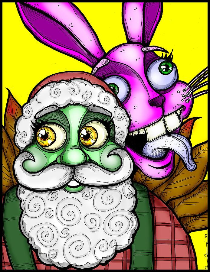 Santa Digital Art - Santa And Bunny by Christopher Capozzi