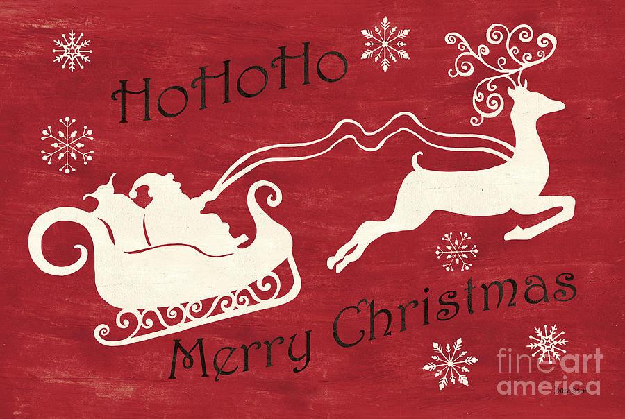 Santa Painting - Santa and Reindeer Sleigh by Debbie DeWitt