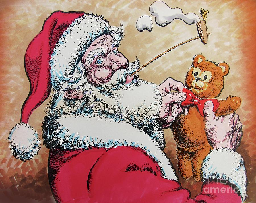 Teddy Bear Drawing - Santa And Teddy by Don Locke