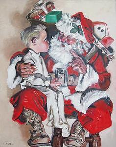 Santa Painting - Santa And The Boy by Eileen Kasprick