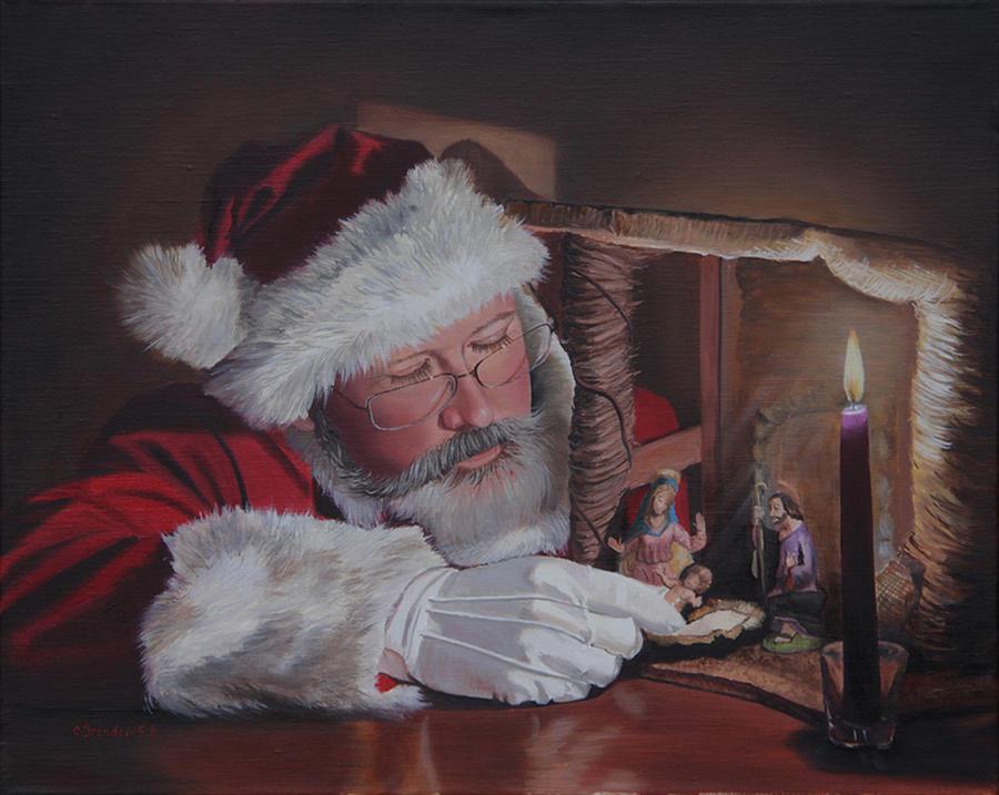 Santa at the Nativity by Cecilia Brendel