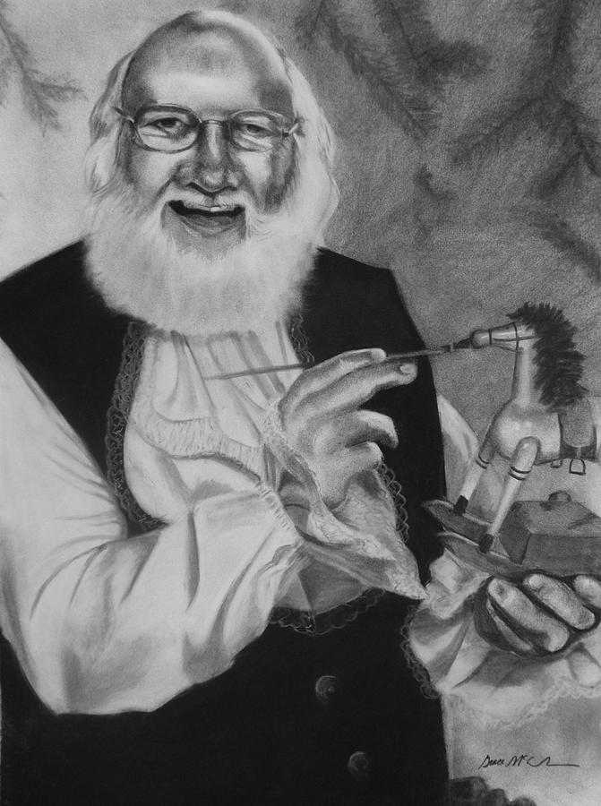 Santa Drawing - Santa At Work by Grace McCracken