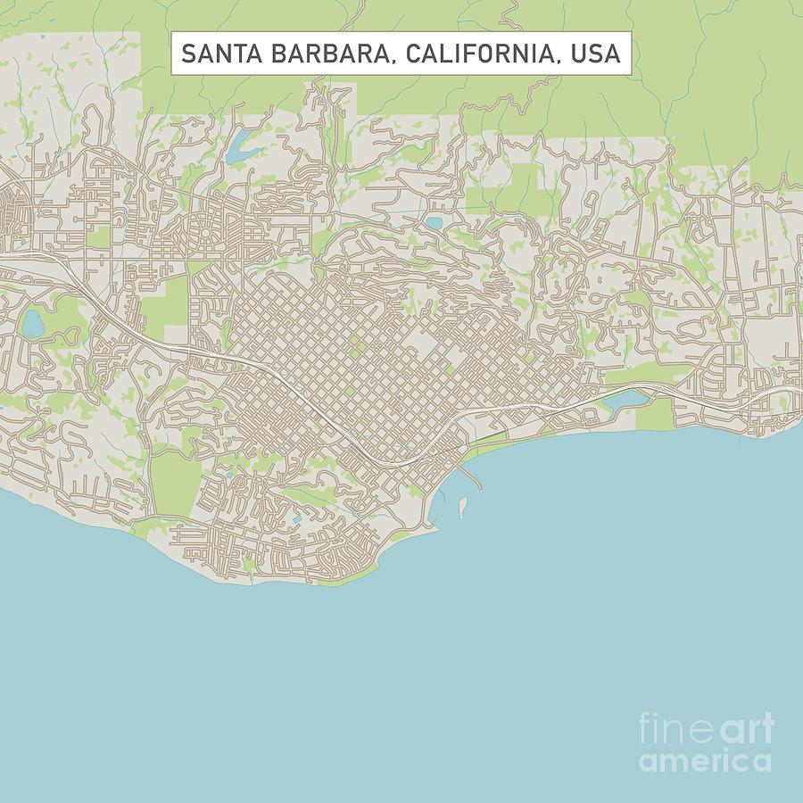 Santa Barbara California Map.Santa Barbara California Us City Street Map By Frank Ramspott