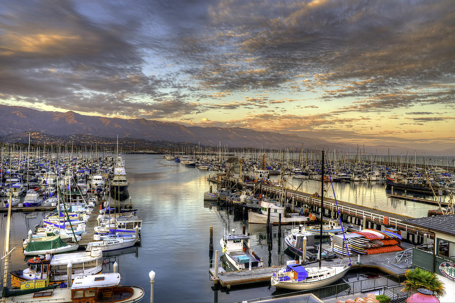 Harbor Photograph - Santa Barbara Harbor Sunset by Brad Kazmerzak